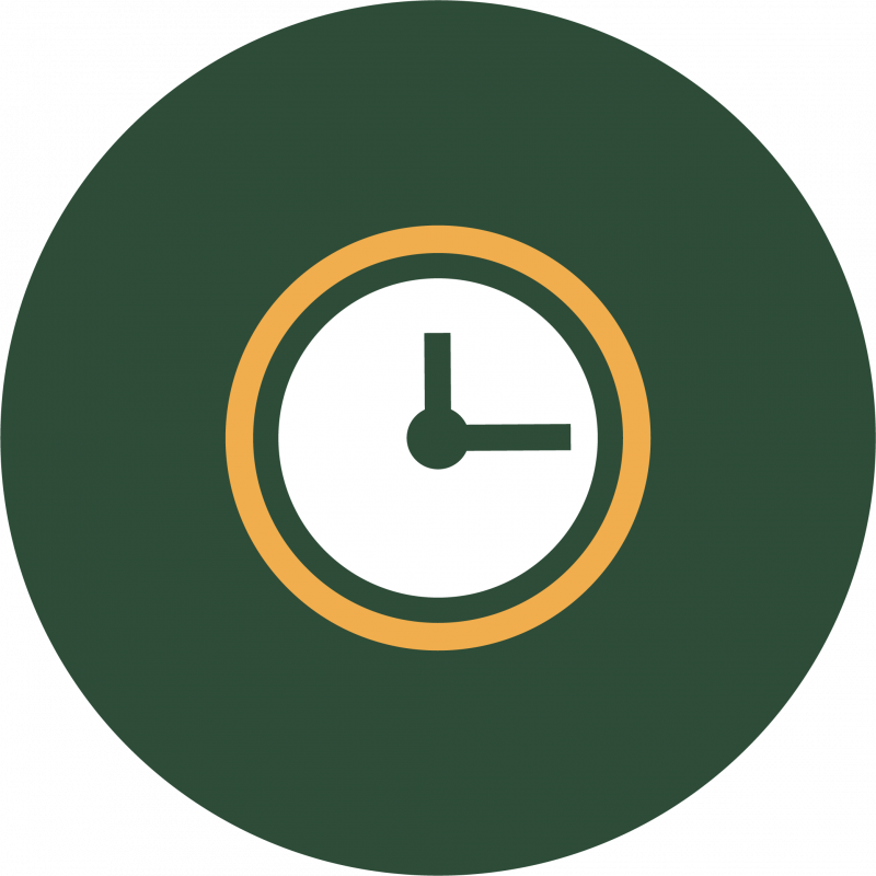 Green symbol with clock