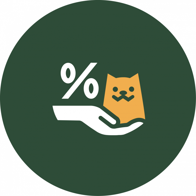 Green symbol with percentage symbol and a hand holding a cat